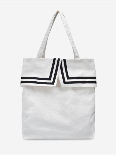 outfit Preppy Style Canvas Student Shoulder Bag - MILK WHITE  Mobile