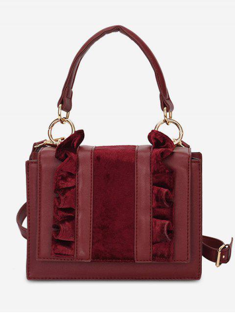 affordable Sueded Flower Side Design Tote Bag - RED WINE  Mobile