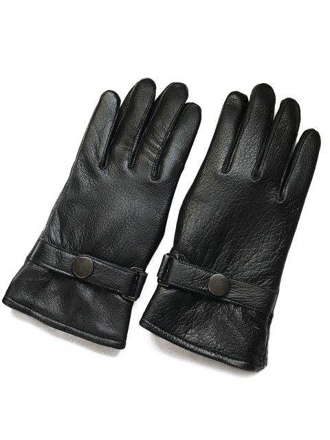 ladies Winter Outdoor Windproof Leather Gloves - BLACK  Mobile