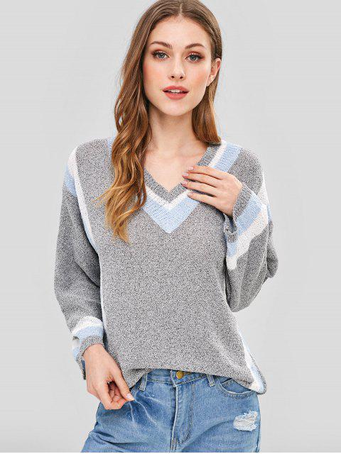 shops Striped V Neck Drop Shoulder Preppy Sweater - GRAY CLOUD ONE SIZE Mobile