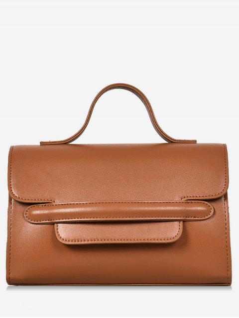 women's Solid Color Cover Design Handbag - BROWN  Mobile