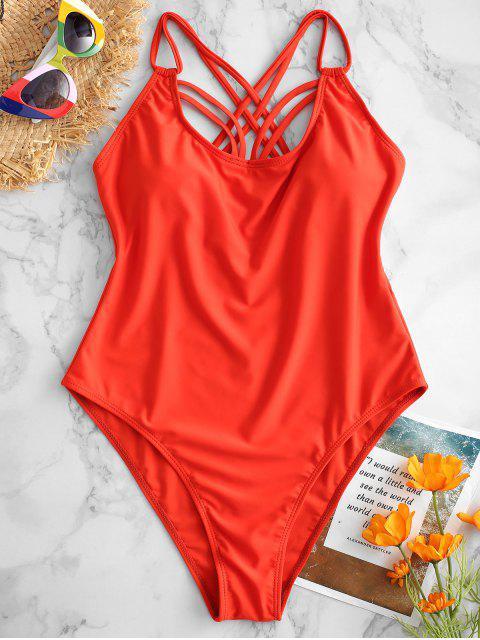 ZAFUL Strappy Criss Cross traje de baño - Naranja Brillante M Mobile