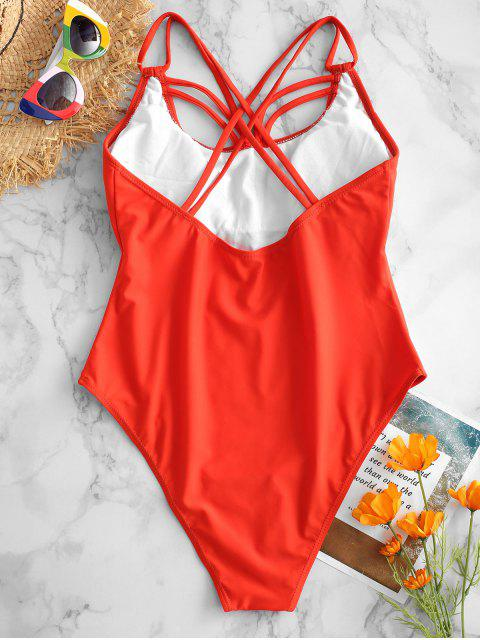 ZAFUL Strappy Criss Cross traje de baño - Naranja Brillante S Mobile