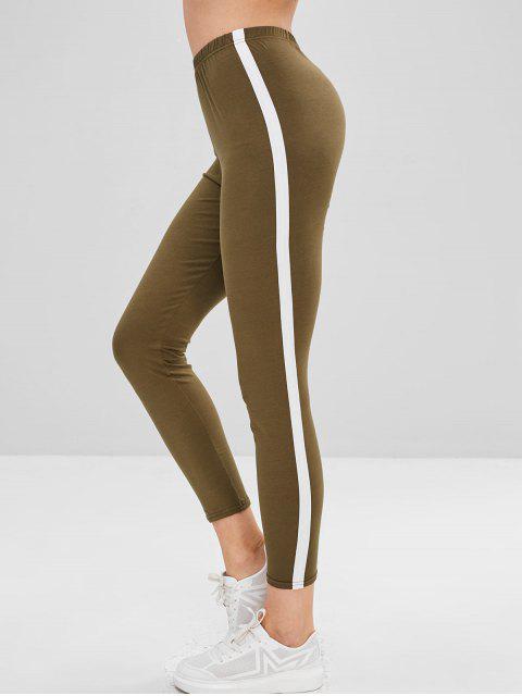women's Stripe Trim Leggings - ARMY GREEN S Mobile