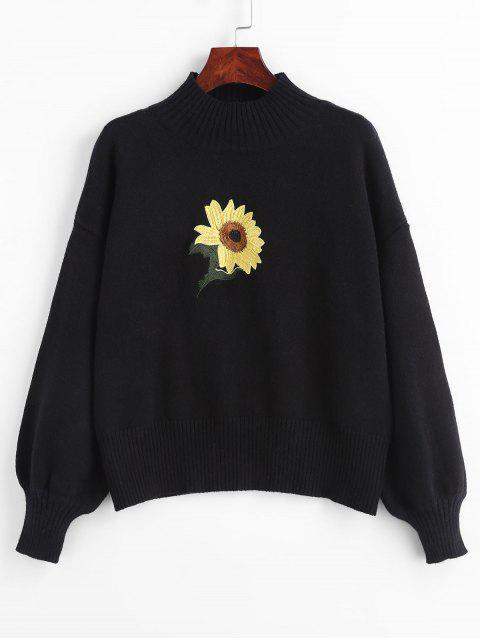hot Mock Neck Sunflower Embroidery Sweater - BLACK ONE SIZE Mobile