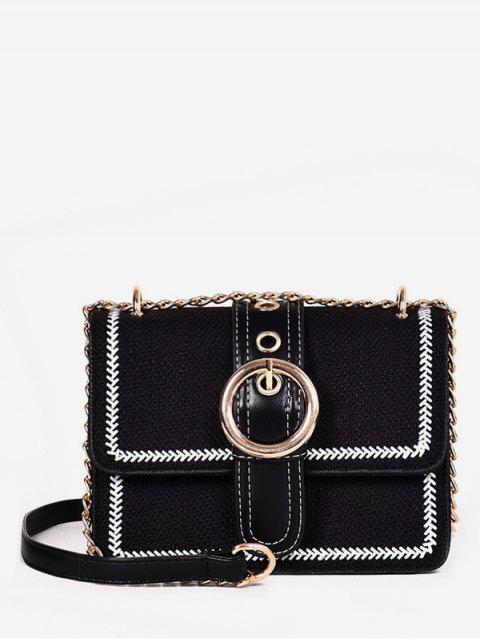 buy Magnet Snap Hoop Decoration Crossbody Bag - BLACK  Mobile
