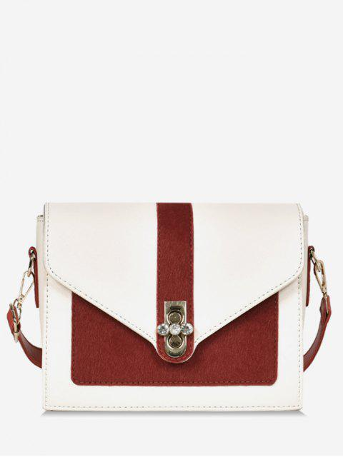 outfit Round Rhinestone Shape Color Block Crossbody Bag - LAVA RED  Mobile