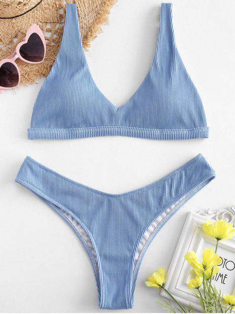 fancy ZAFUL Textured Ribbed High Leg Bikini Set - DAY SKY BLUE L Mobile