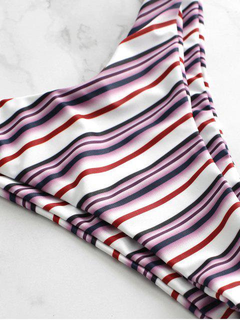 sale ZAFUL Smocked Striped Frilled Bikini Set - MULTI-A L Mobile