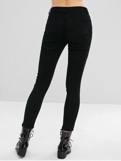 Jeans ajustados elásticos rasgados - Negro S Mobile