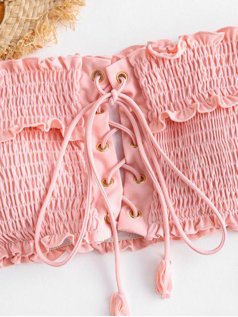 ZAFUL Ensemble de Bikini Plissé à Lacets - Rose Cochon L Mobile