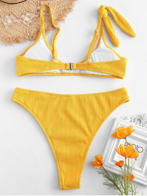 Ensemble de bikini taille haute côtelé texturé ZAFUL - Jaune Soleil L Mobile