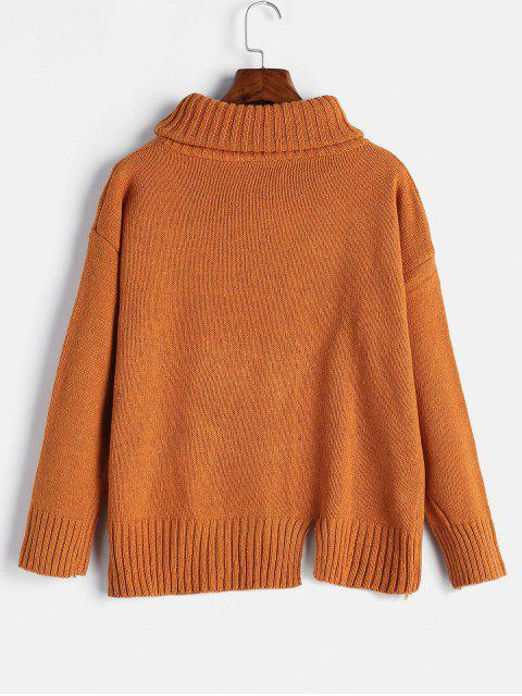 fashion Split Hem Turtleneck Boxy Sweater - DARK ORANGE ONE SIZE Mobile