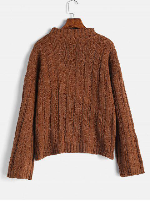 womens Drop Shoulder Wide Ribbed Boxy Sweater - BROWN ONE SIZE Mobile