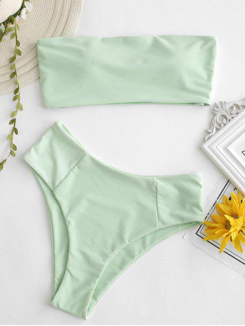women High Cut Bandeau Bathing Suit - MINT GREEN M Mobile