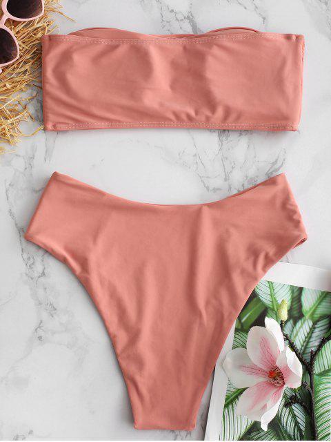 fashion High Cut Bandeau Bathing Suit - LIGHT SALMON M Mobile