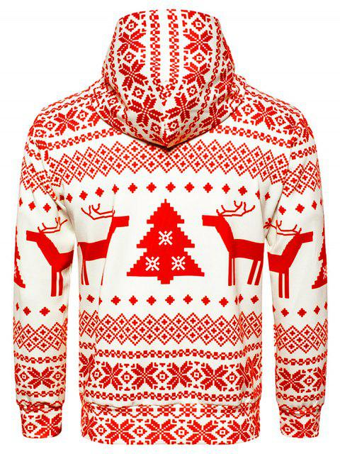 online Hooded Christmas Snowflake Geometric Print Hoodie - RED M Mobile
