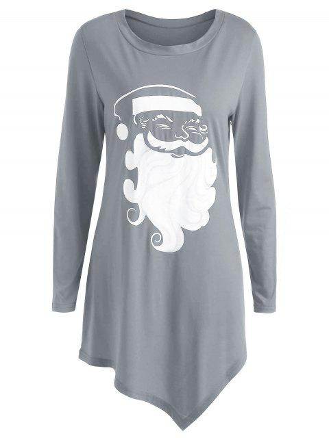 Plus Size Long Sleeve Graphic Christmas T-shirt - 灰色 L Mobile