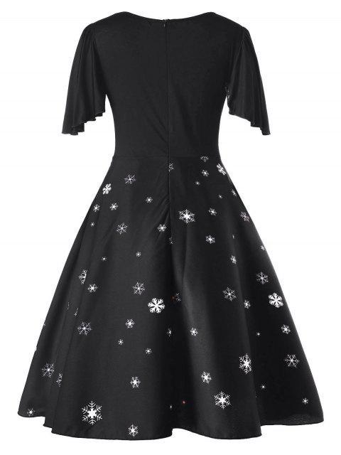 Vestido Clásico Talla Grande Estampado Papá Noel - Negro L Mobile