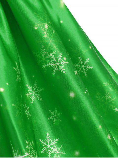 Plus Size Vintage Snowflake Christmas Dress - 綠色 L Mobile