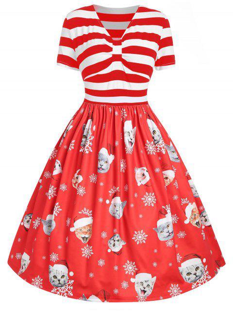 Plus Size Cat Pattern Christmas Dress - 寶石紅 1X Mobile
