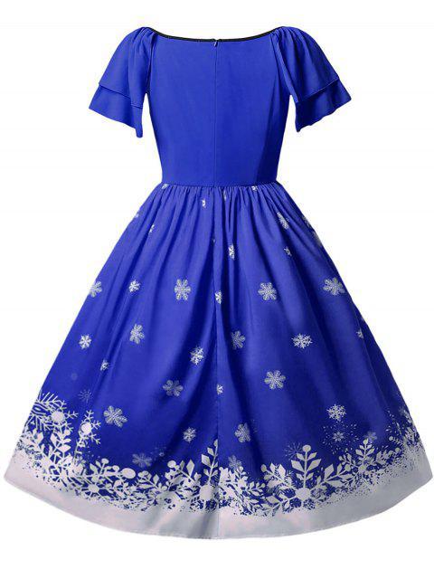 Vestido Talla Extra Navideño Estampado Papá Noel - Azul Cobalto 1X Mobile