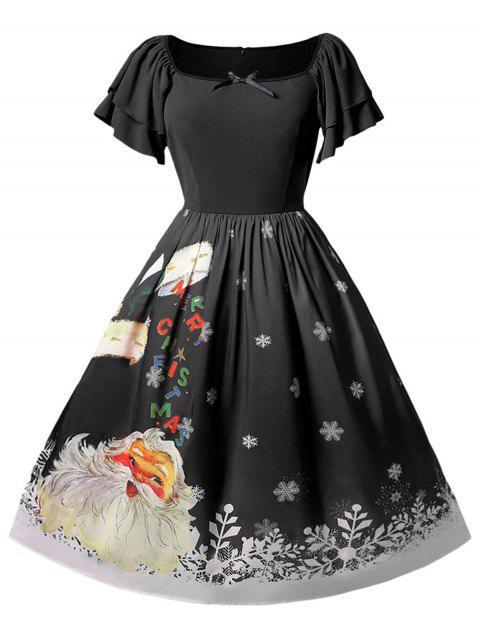 Christmas Plus Size Santa Claus Printed Dress - 黑色 1X Mobile