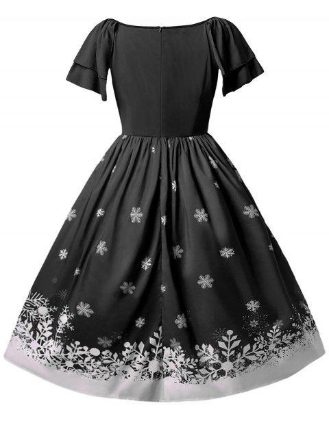 Christmas Plus Size Santa Claus Printed Dress - 黑色 L Mobile