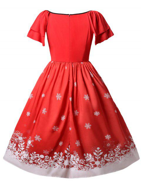 Christmas Plus Size Santa Claus Printed Dress - 紅 L Mobile