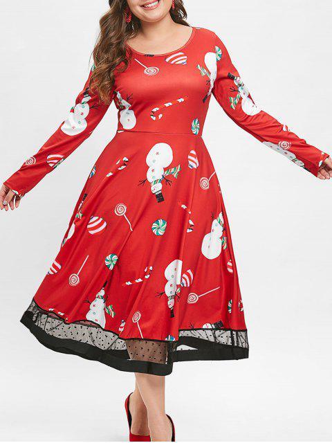 Christmas Plus Size Lollipop Snowman Print Dress - 紅 4X Mobile