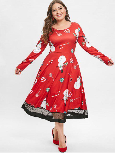 Christmas Plus Size Lollipop Snowman Print Dress - 紅 2X Mobile
