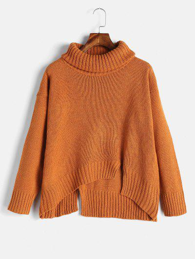 Split Hem Turtleneck Boxy Sweater - Dark Orange