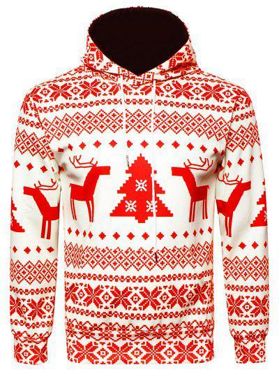 Moletom Com Capuz Do Impressão Geométrico De Floco De Neve De Natal - Vermelho Xl