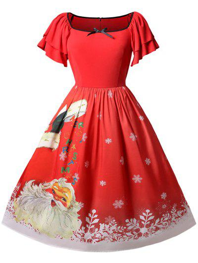 Christmas Plus Size Santa Claus Printed Dress - Red L