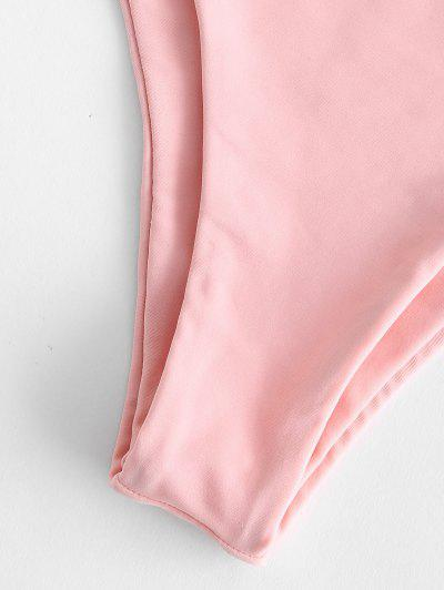 ZAFUL Shirred Lace-up Bardot Bikini Set