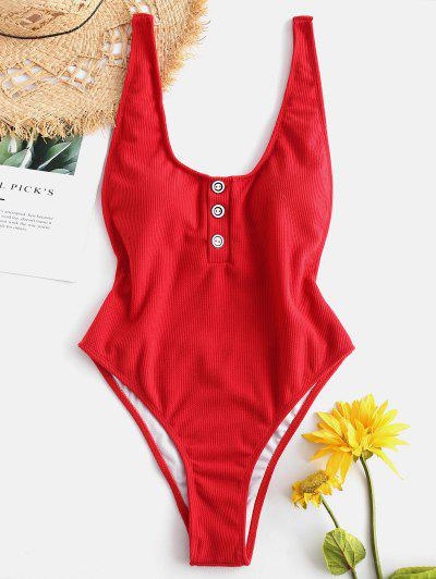One-piece Ribbed Buttons High Cut Swimsuit - Red Wine S