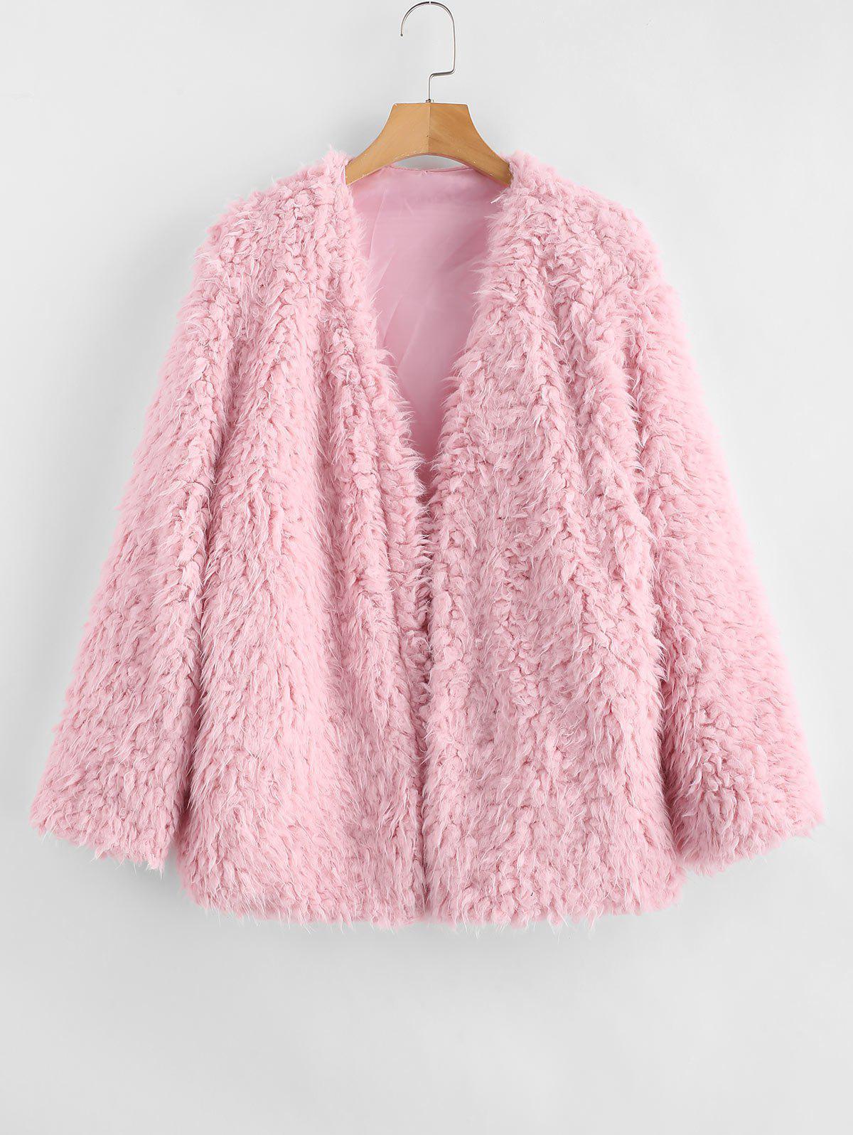 Open Front Fluffy Faux Fur Winter Coat