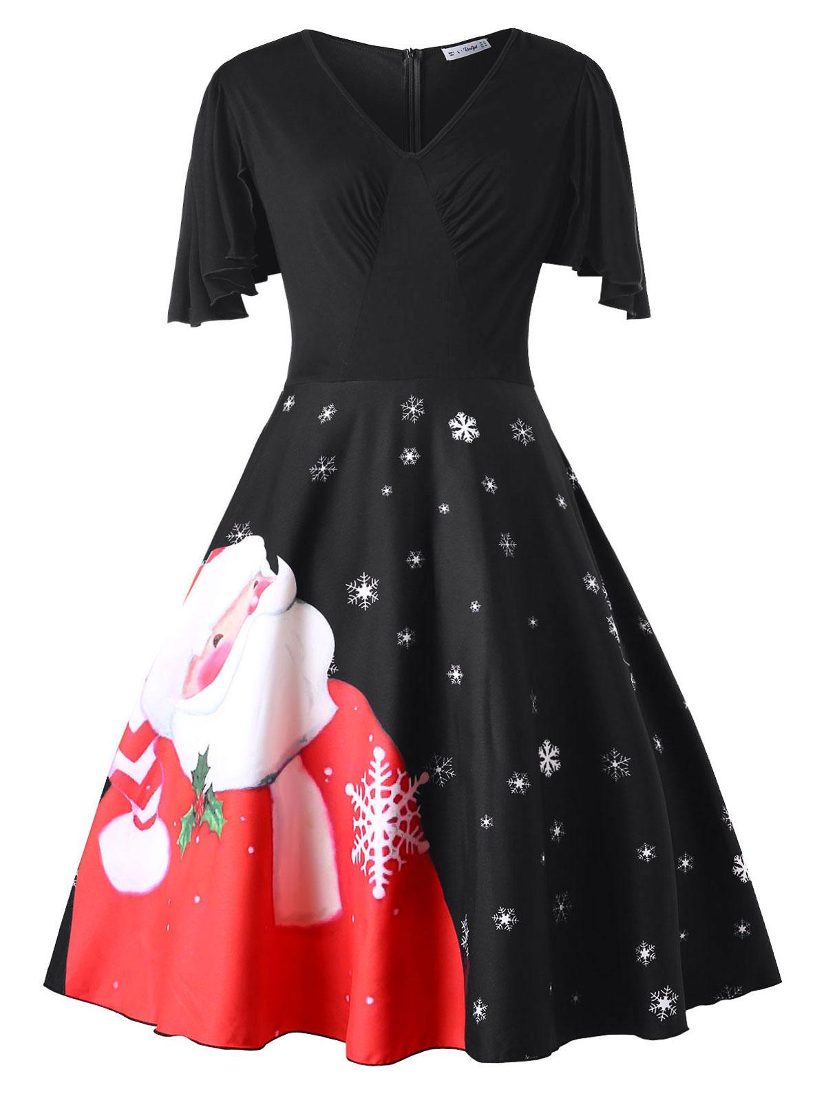 Plus Size Christmas Santa Claus Print Vintage Dress