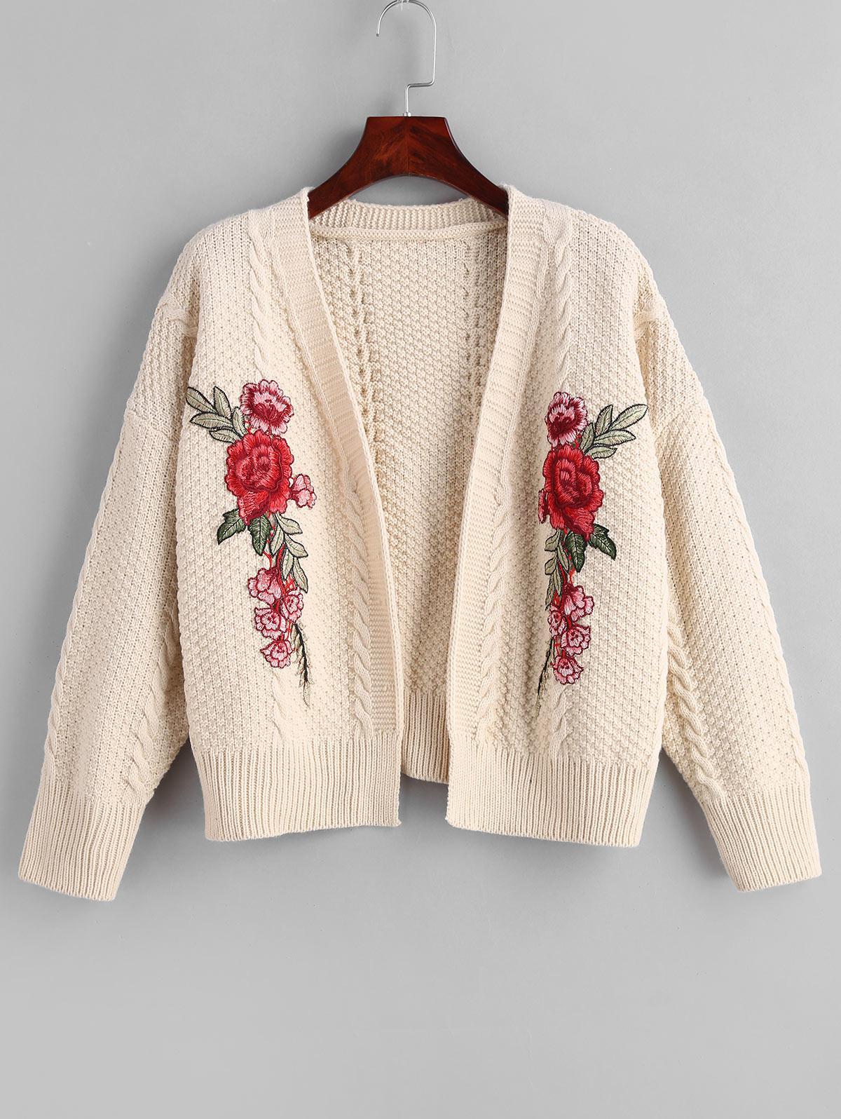 Drop Shoulder Floral Embroidery Cardigan