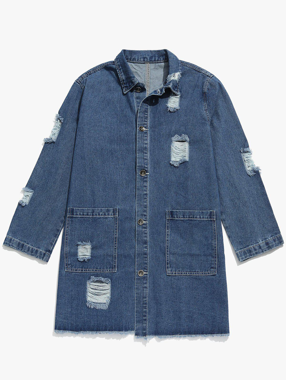 Solid Ripped Denim Trench Coat, Blue