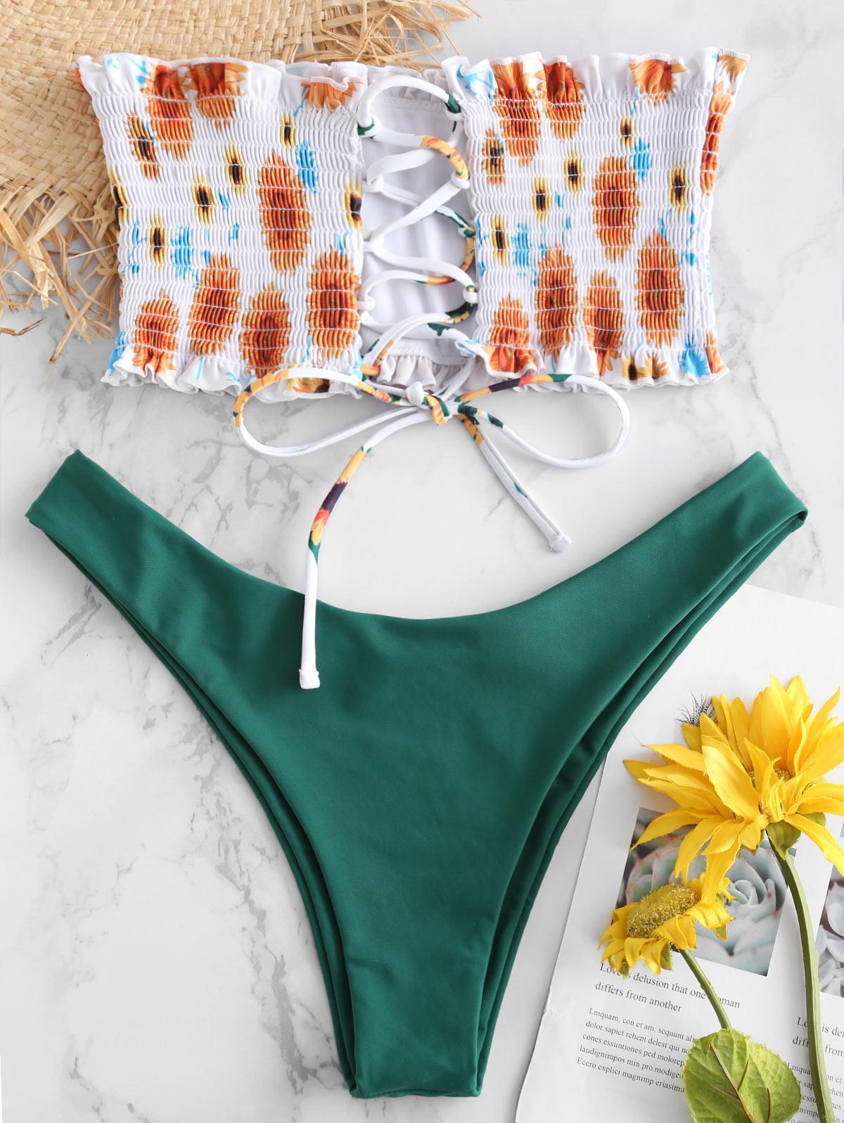 ZAFUL Sunflower Lace-up Smocked Bandeau Bikini