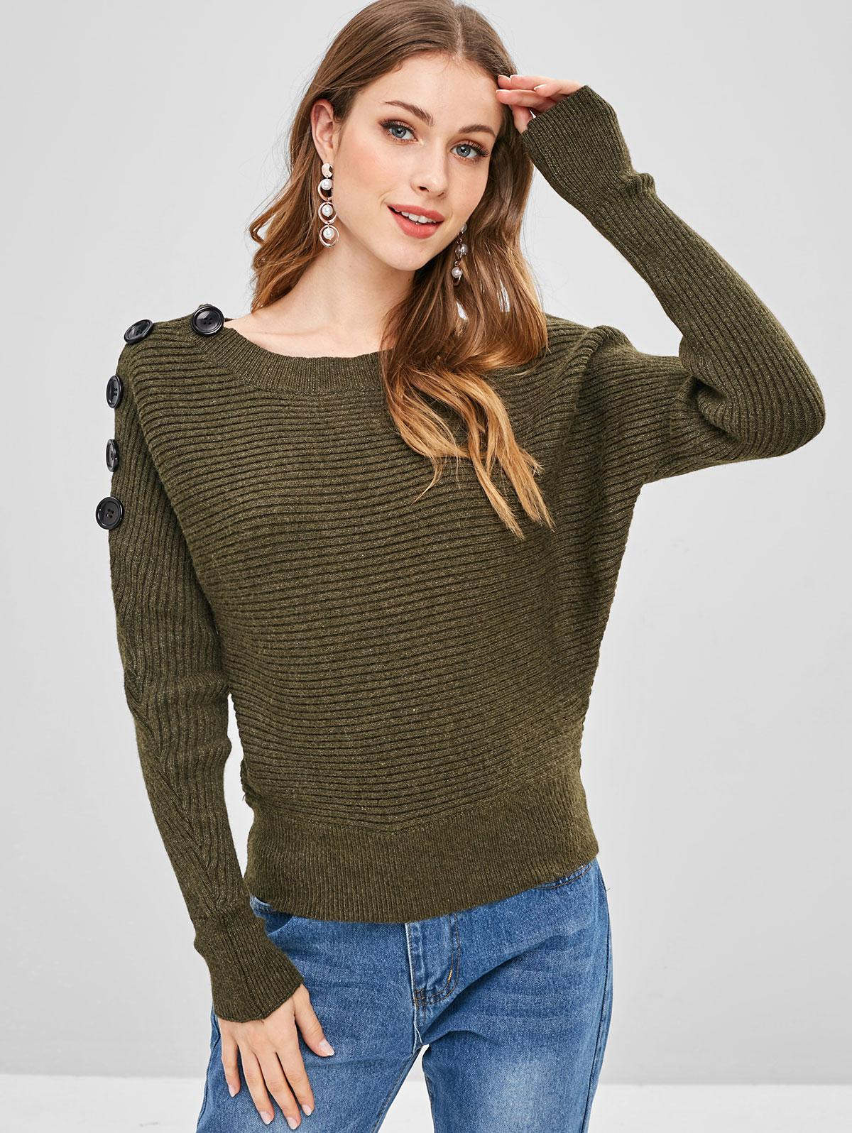 Buttoned Ribbed Boat Neck Dolman Sweater