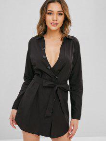 ZAFUL Button Button مربوط اللباس عادية - أسود L