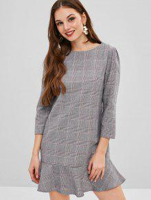 ZAFUL Plaid Mini Flanger Dress - سحابة رمادية S
