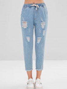 جينز ممزق بتطريز بنمط ممزق - جينز ازرق L