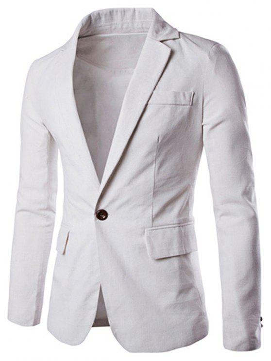 One Button Einreiher Farbe Spliced Revers langen Ärmeln Baumwolle + Leinen Blazer für Männer - Weiß M