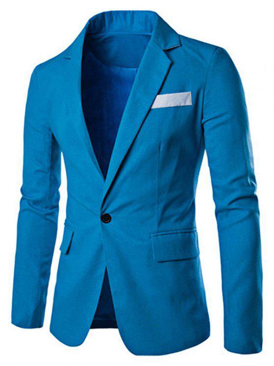 Ein Taste Einreiher Farbe Splicing-Revers langen Ärmeln Leinen Blended Blazer für Männer - Blau M
