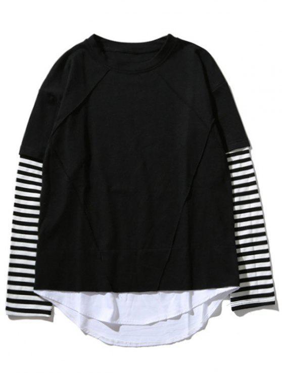 T-Shirt Con Pannello A Righe E Colletto A Girocollo - Nero M