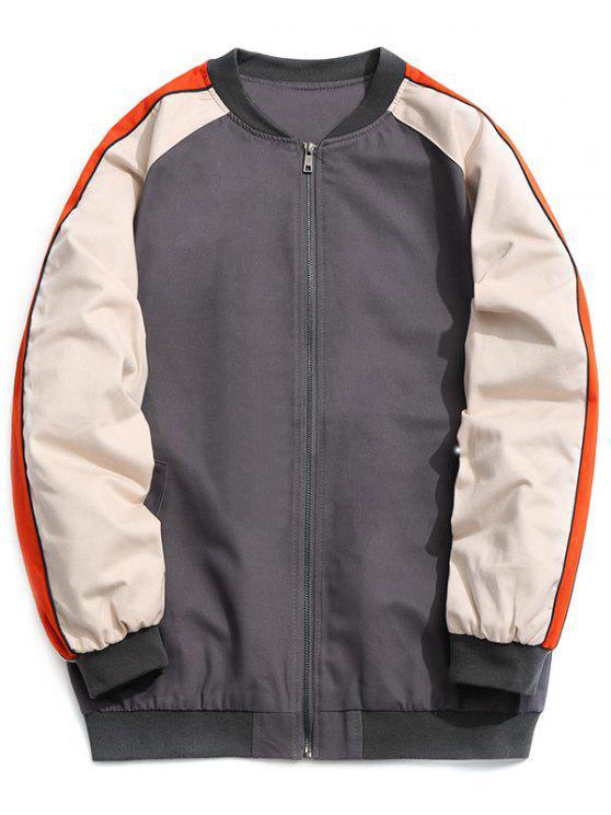 lady Color Block Zipper Baseball Jacket - GRAY 4XL