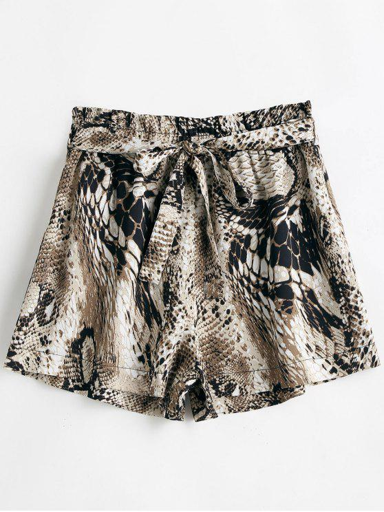 chic Snakeskin Print Belted Wide Leg Shorts - MULTI XL